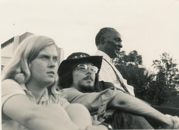 Juana Haroldson and Jim Pettigrew with Rev Pearly Brown at UGA when he opened for Wet Willie ca 1971. personal photo of Juana Haroldson